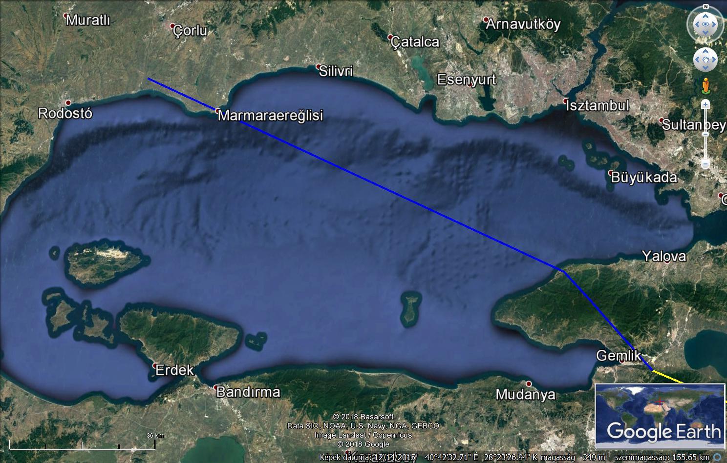 Zoltán útvonala a Márváány-tenger felett 2018. március 7-én.